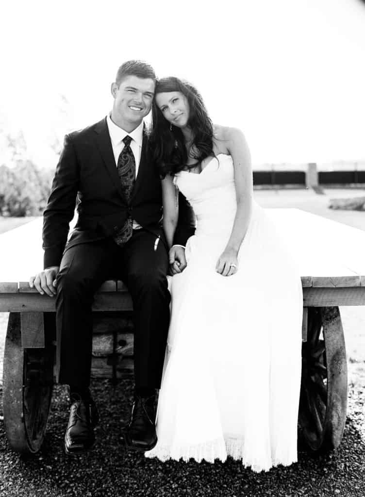 Bride and groom on a wagon