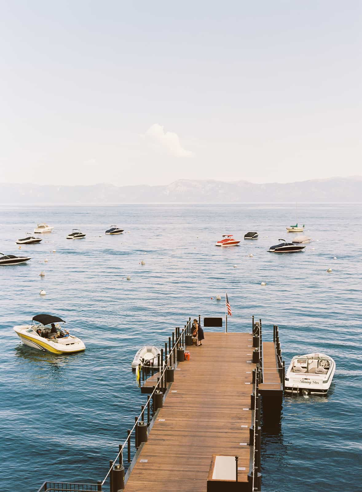 Dock and boats on Lake Tahoe