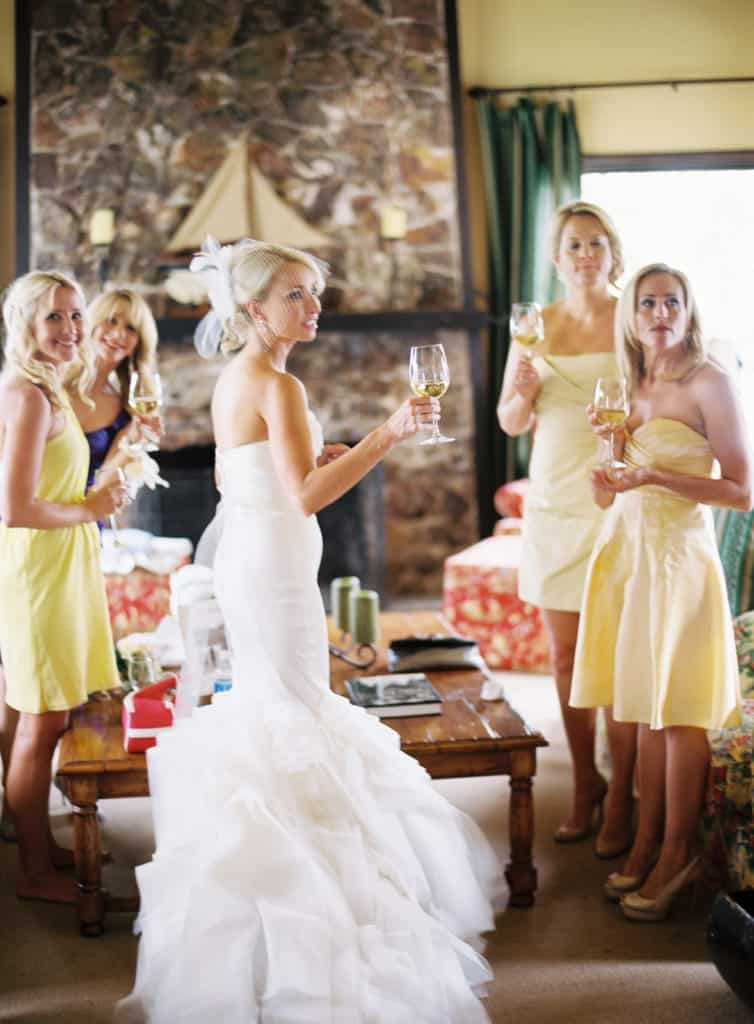 Girls toasting before the ceremony