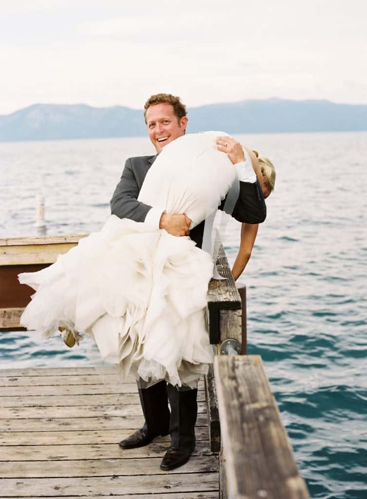 Pretending to throw the bride in the water, Vera Wang dress