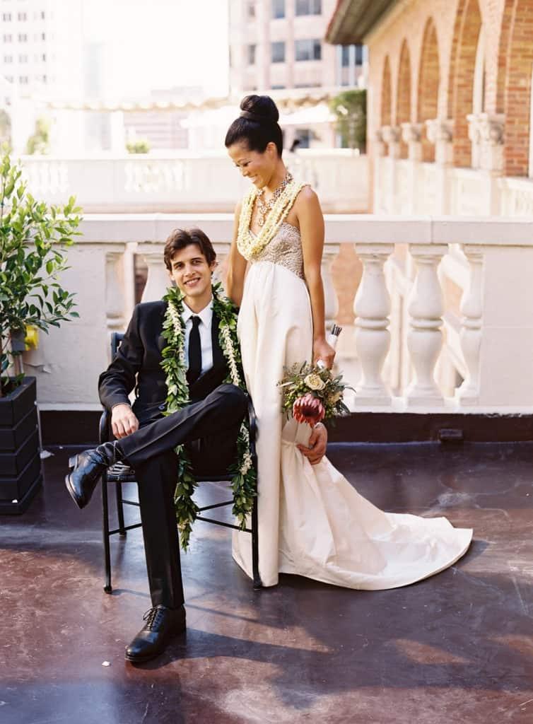 Hawaiian wedding style portrait