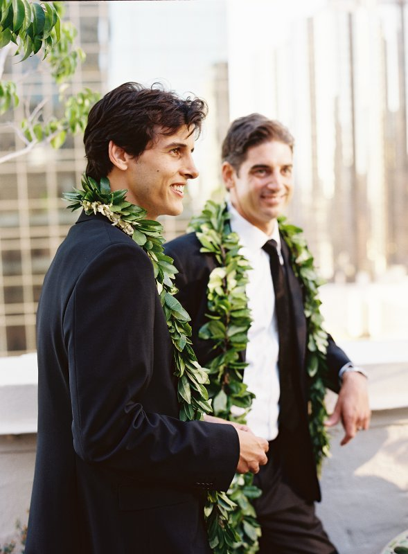 Brothers with ti leaf lei