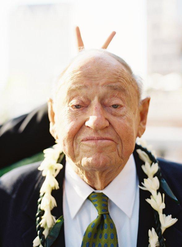 Bunny ears over grandpa