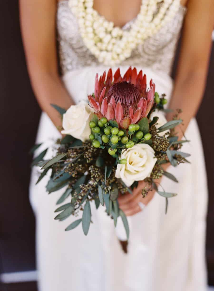 Protea and white rose bouquet