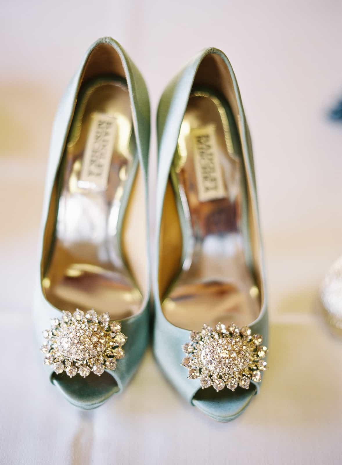 Closeup of bride's Badgley Mischka shoes