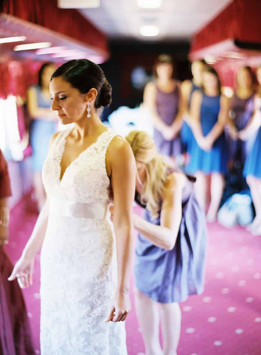 Bride and bridesmaids getting ready inside a train