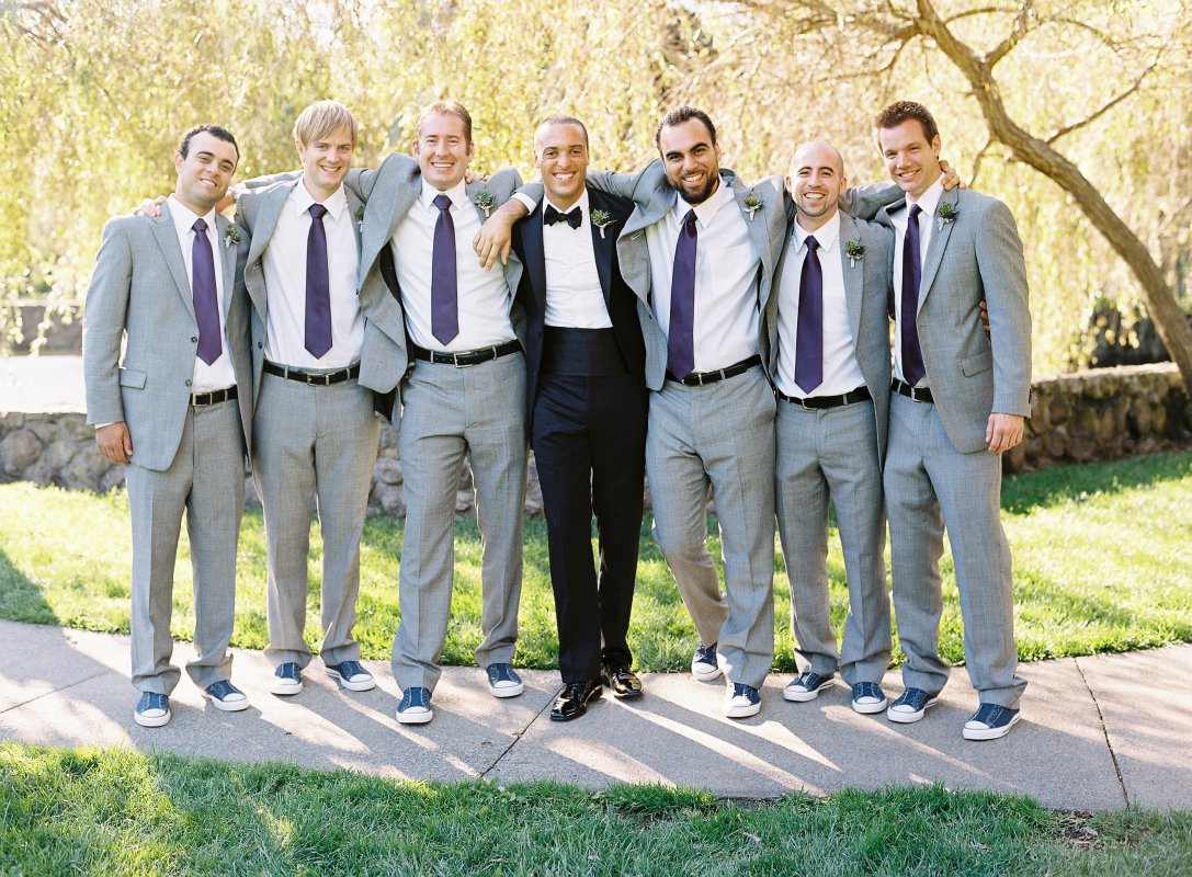 Groomsmen in light gray suits