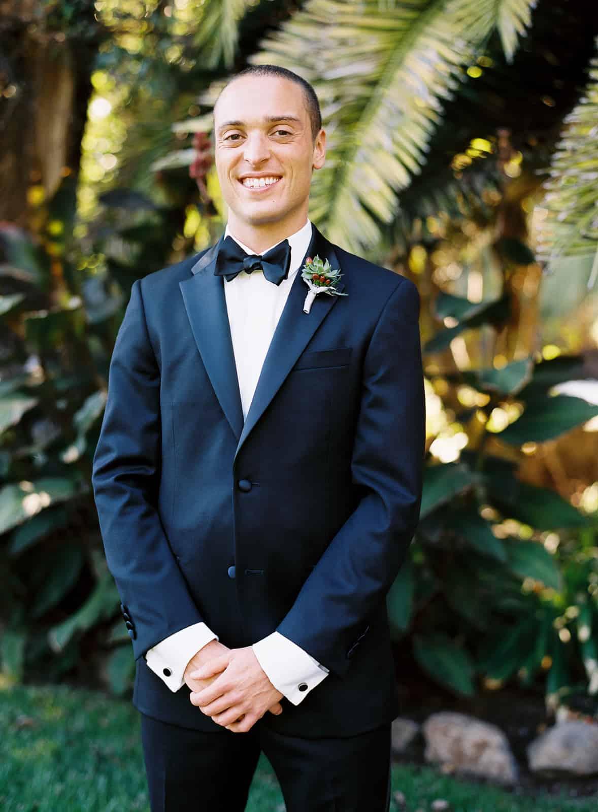Groom in a black tuxedo