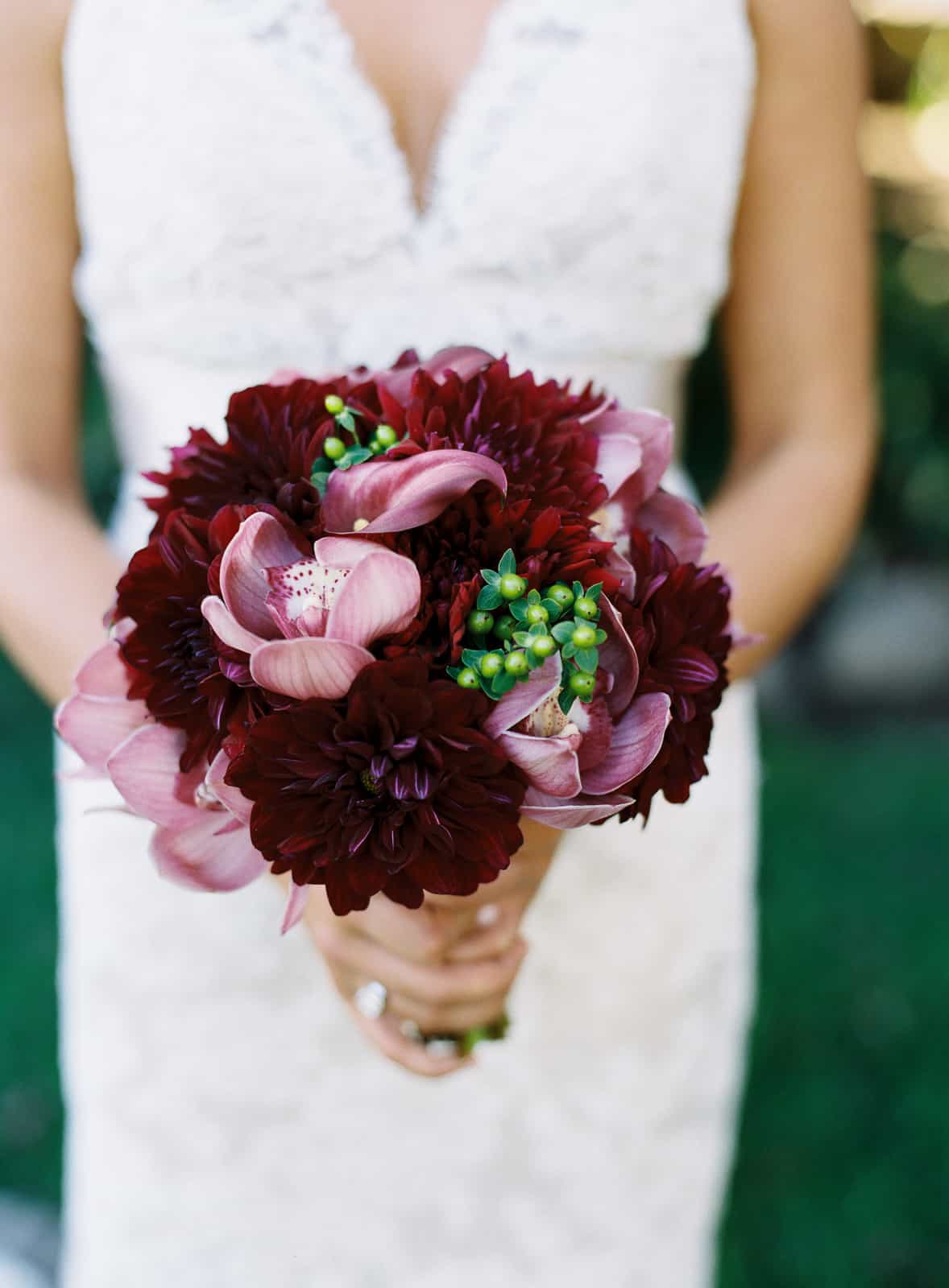Maroon and purple bouquet