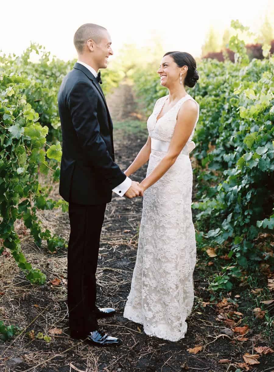 Sonoma wedding vineyard portrait