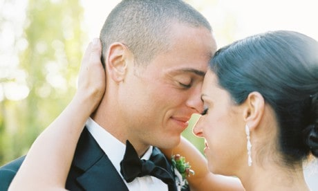 foreheads together wedding portrait
