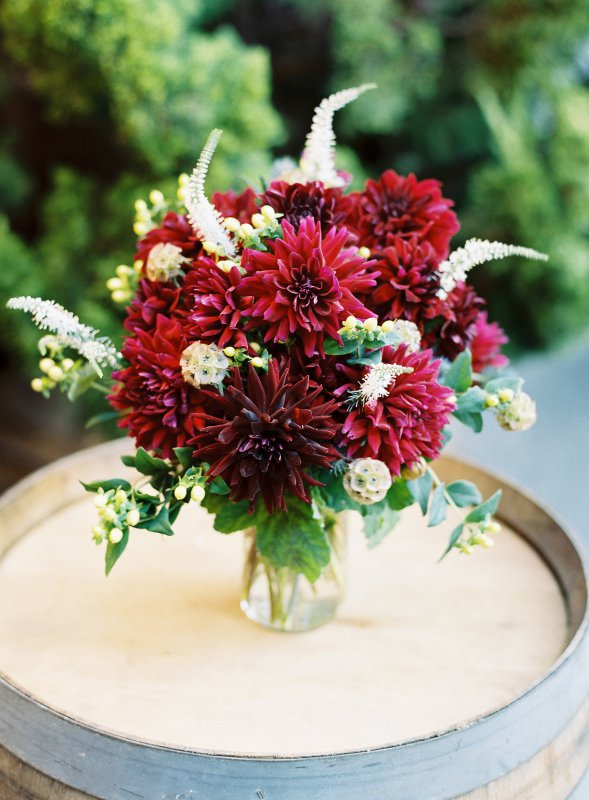 Maroon floral arrangement