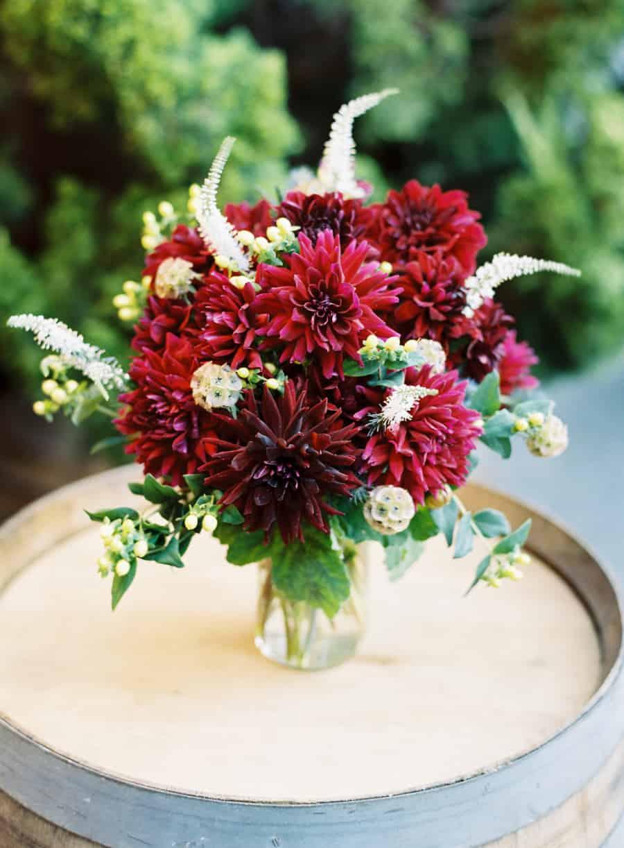 Maroon floral arrangement