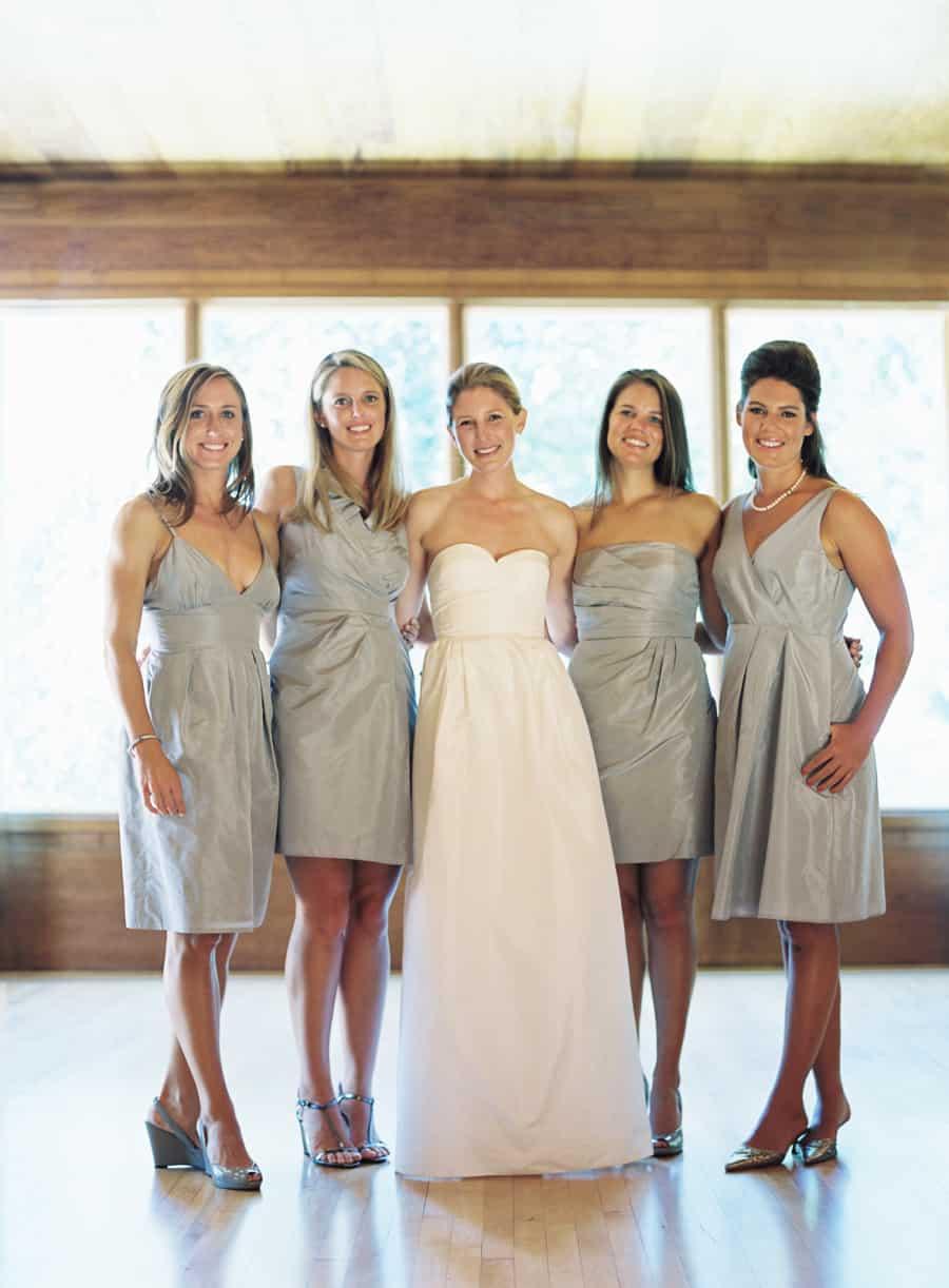 bridesmaids in gray dresses