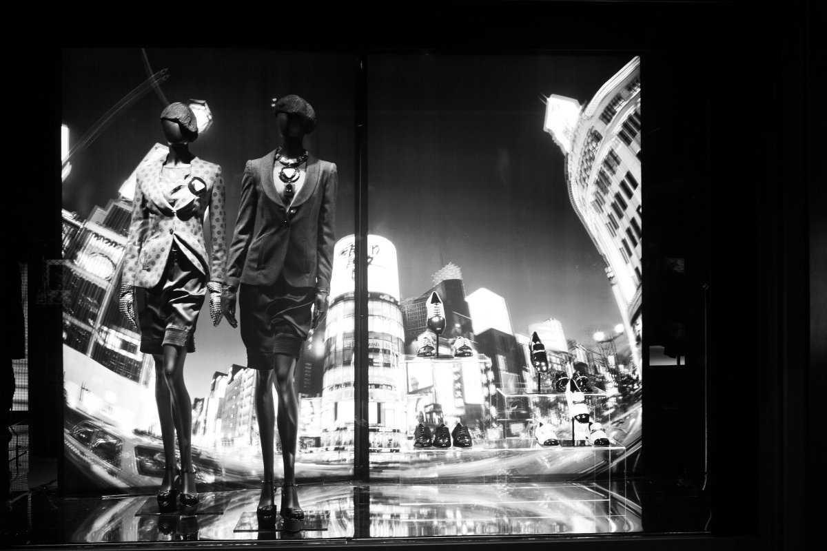 Window display at the Armani store.