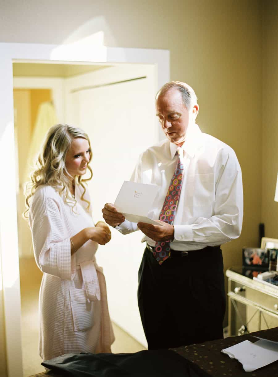 Father reads letter from the bride
