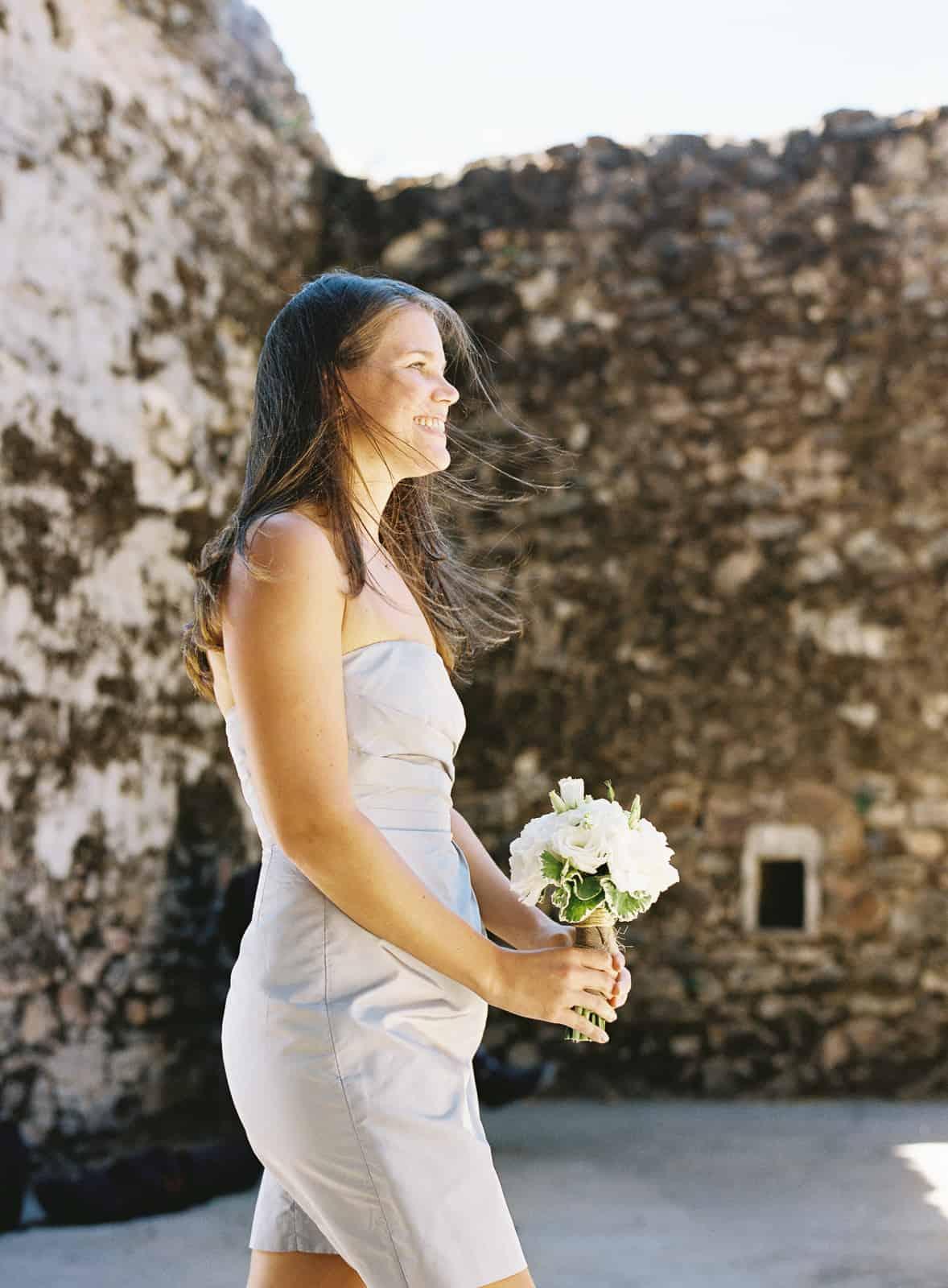 bridesmade gray dress processional