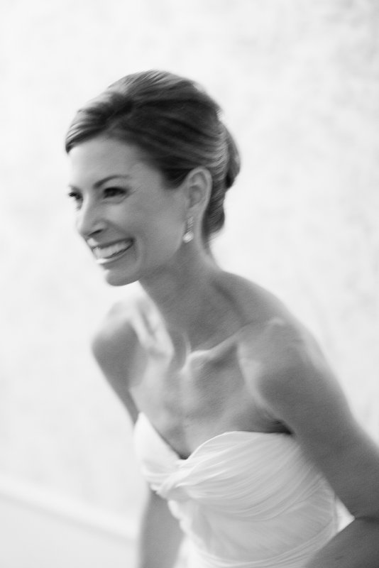 laughing bride in black and white