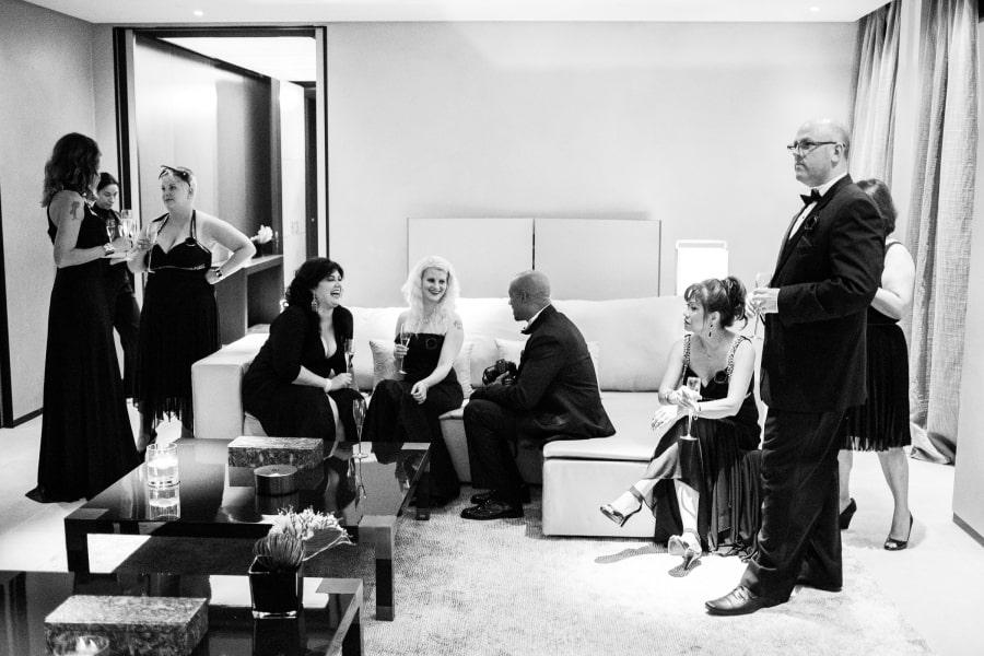 Wedding guests in black tie attire