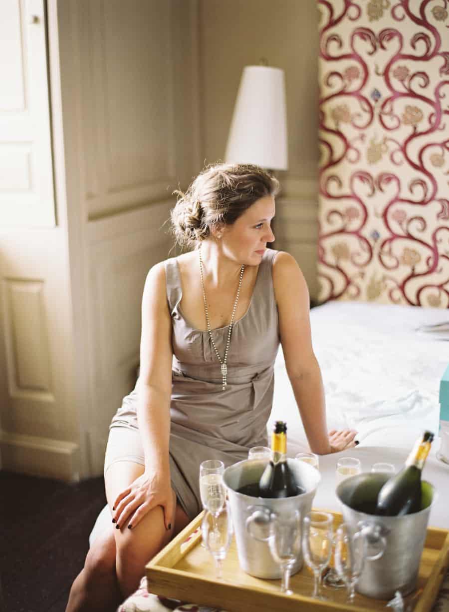 Bridesmaid with champagne