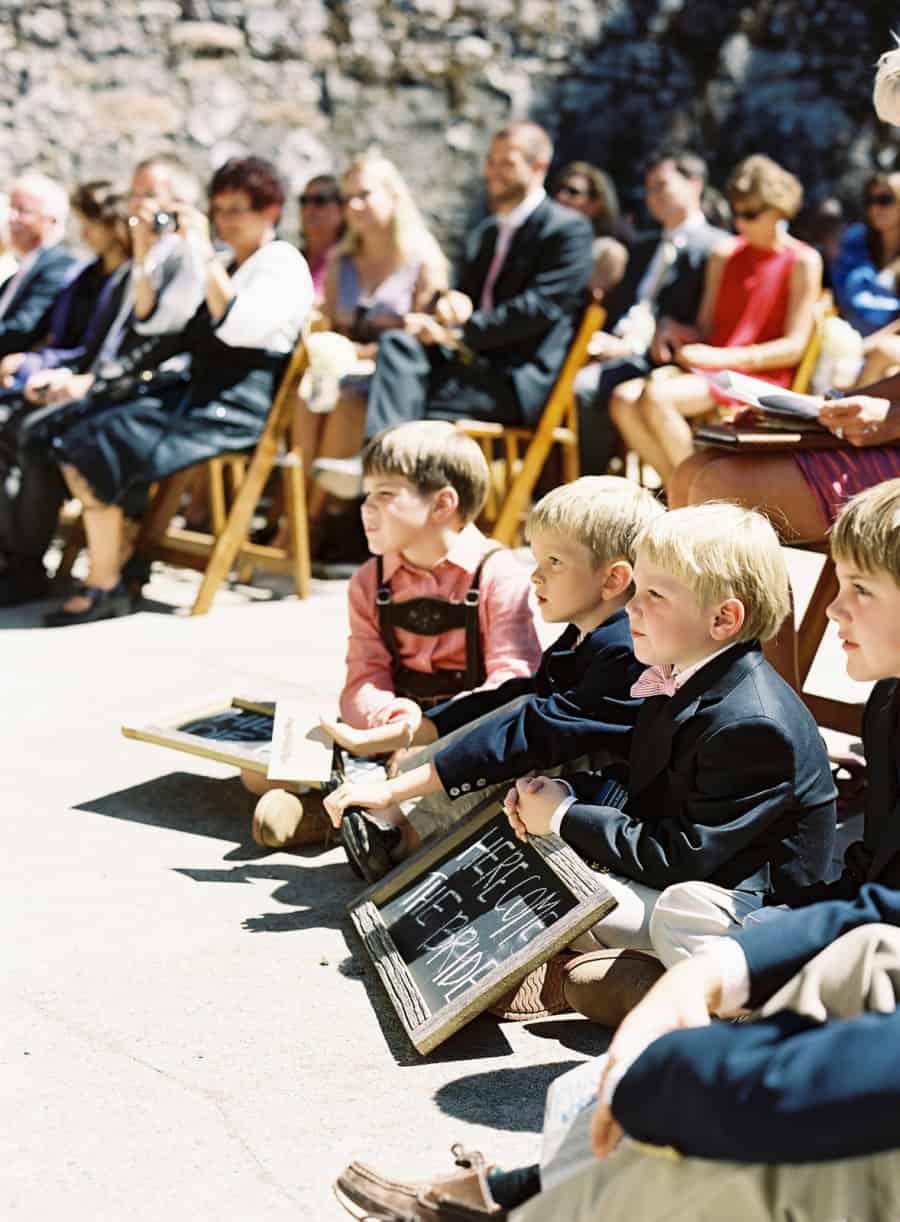 junior ushers watching ceremony