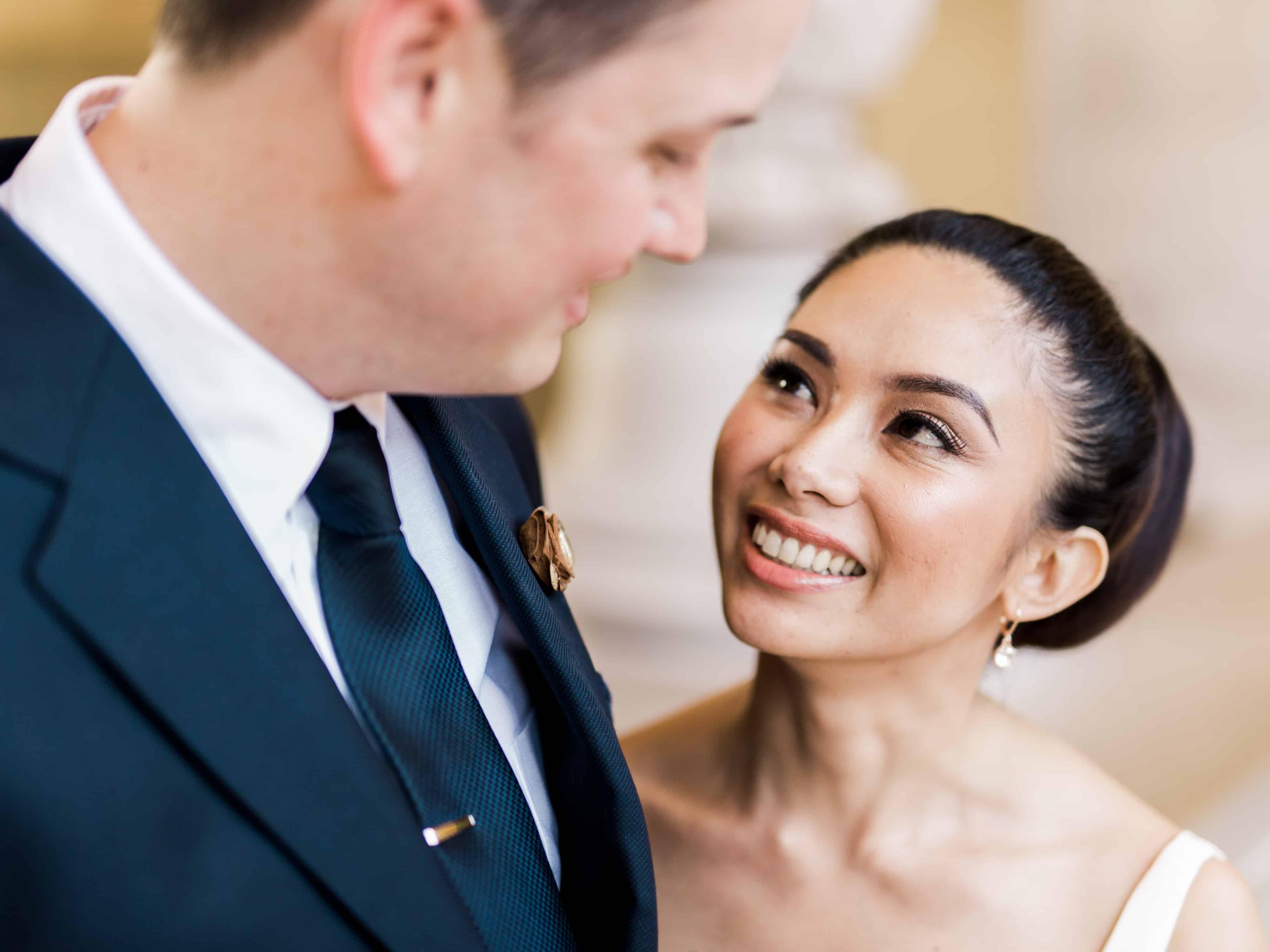 bride candid portrait