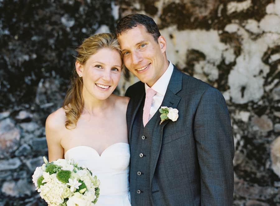 wedding portrait pink tie stone wall