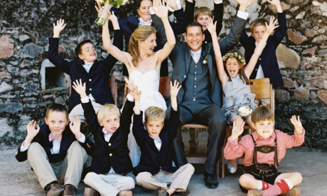 funny group photo with junior wedding party