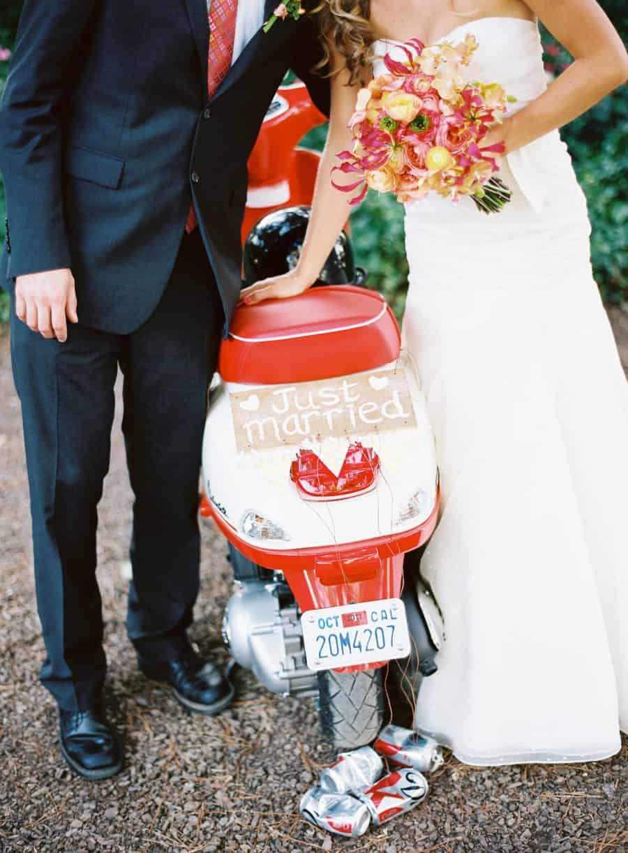 Scooter with just married sign