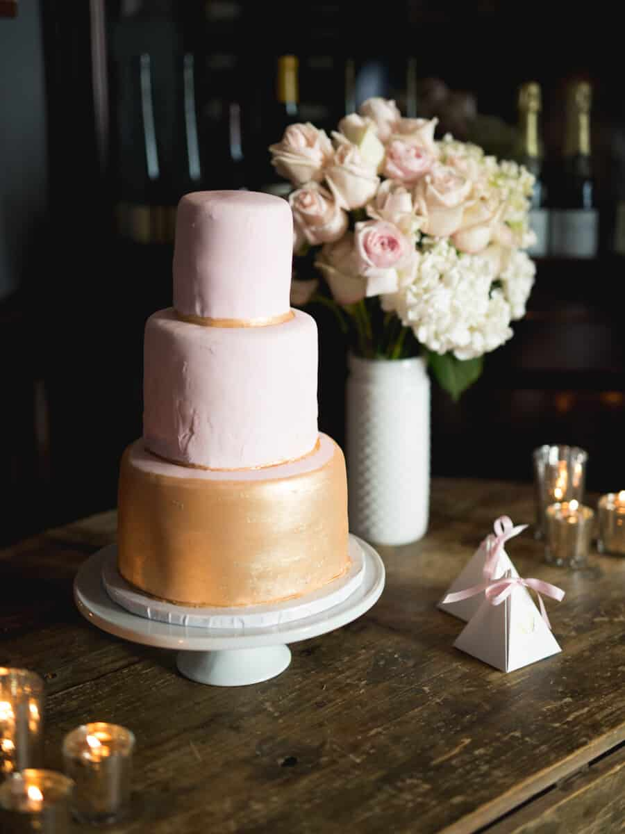 pink and gold three tier cake