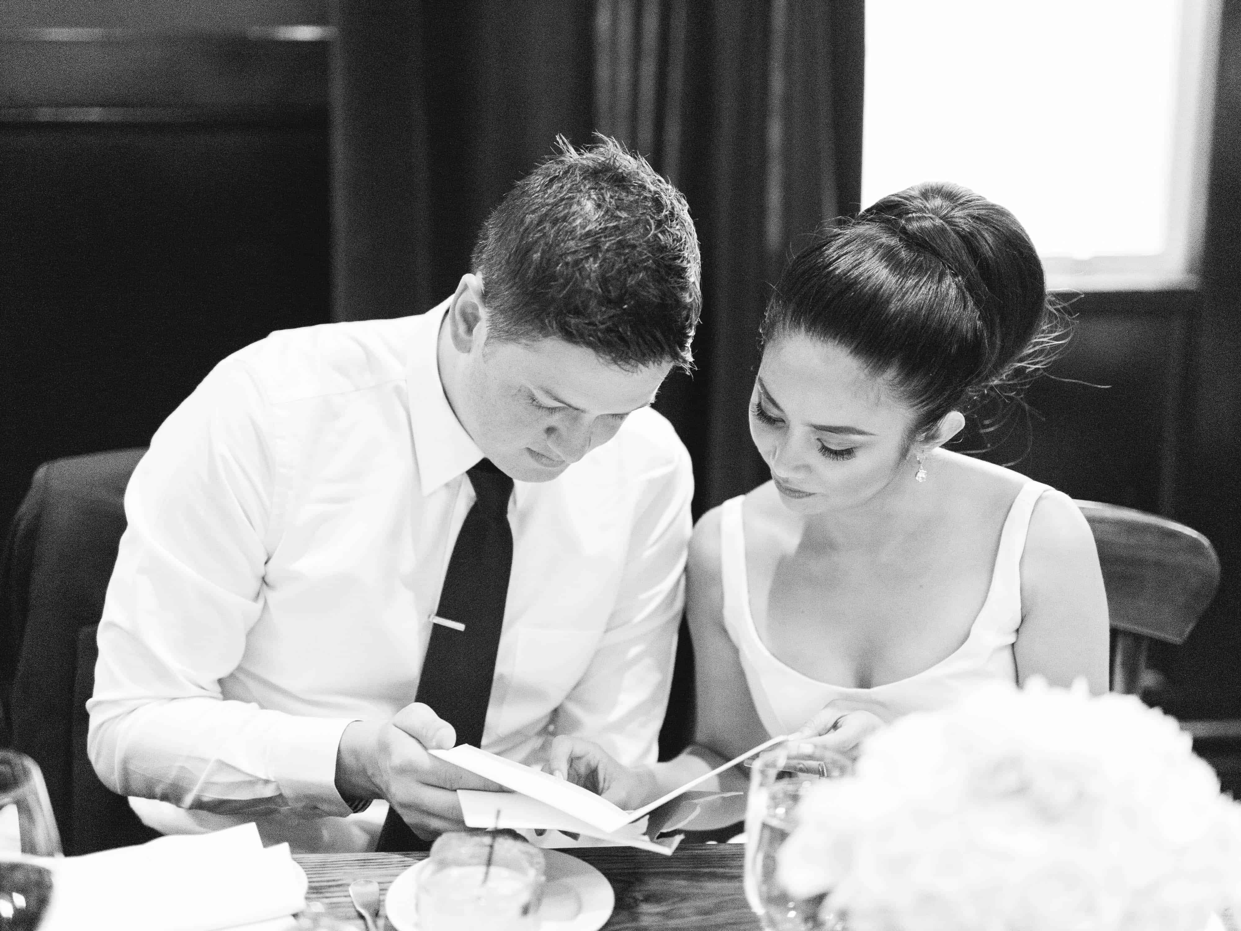 married couple reading a card