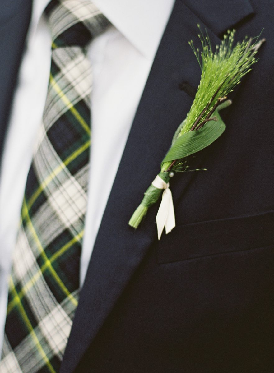 Green Boutonniere and tartan tie
