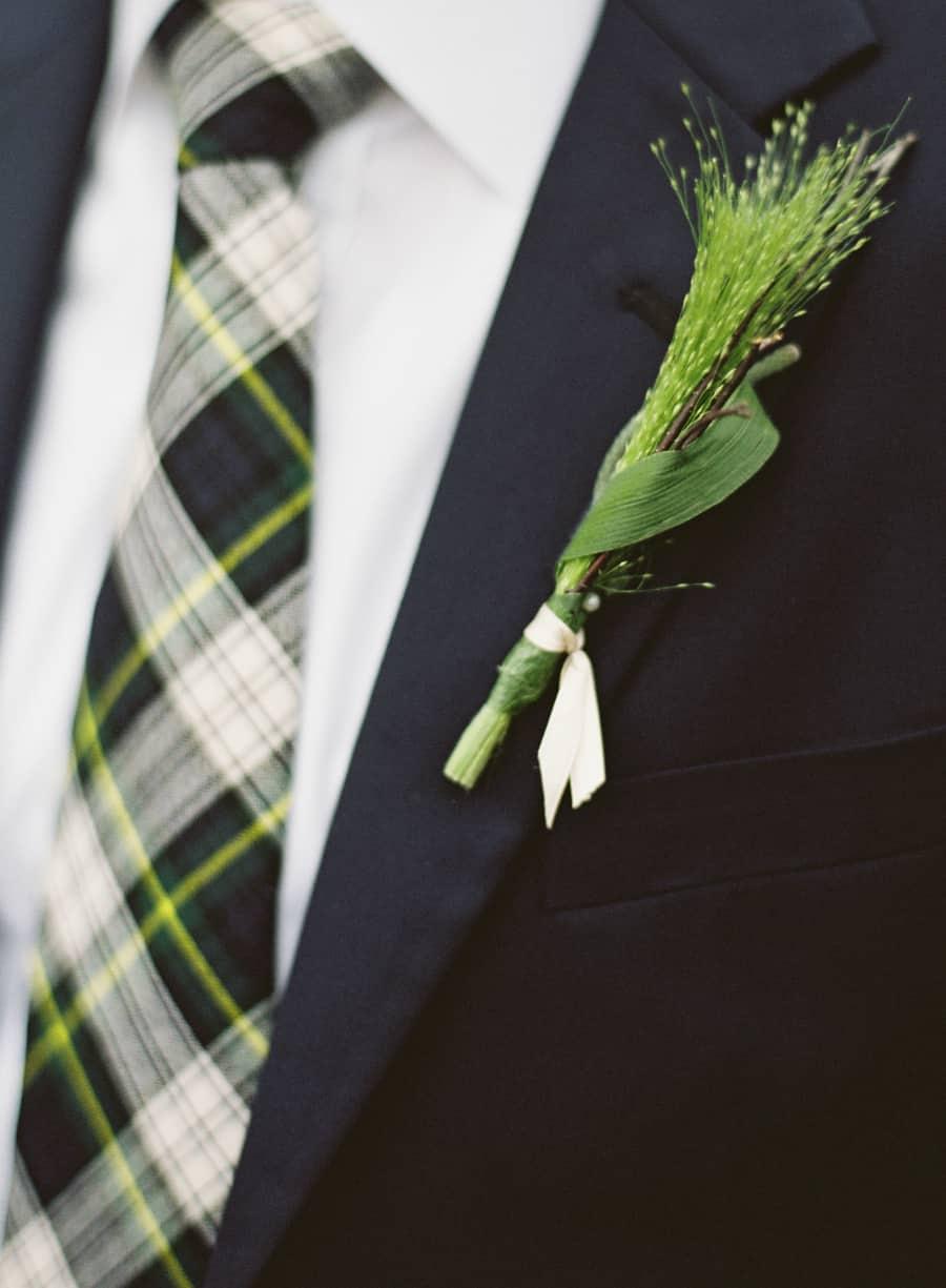 Green Boutonniere and tartan tie
