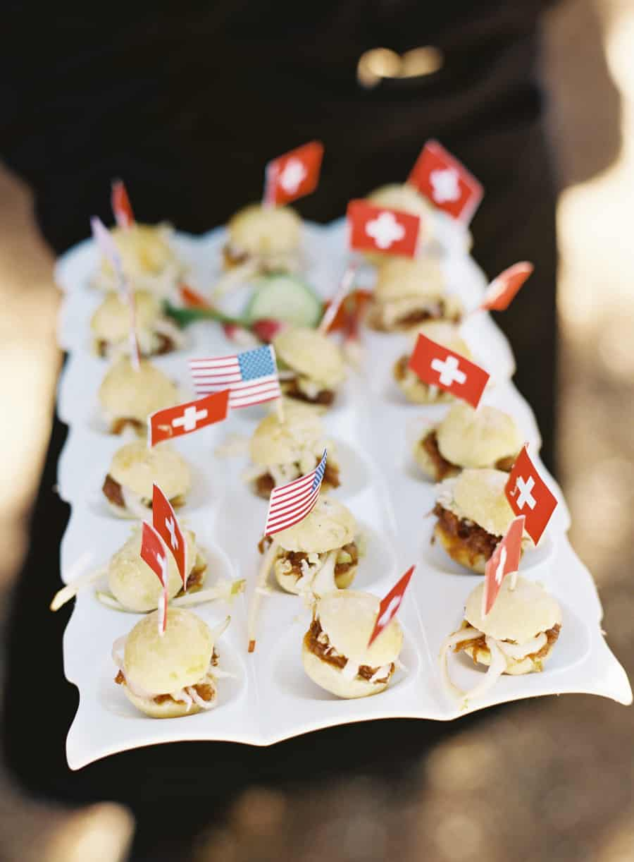 slider appetizers with swiss and american flags