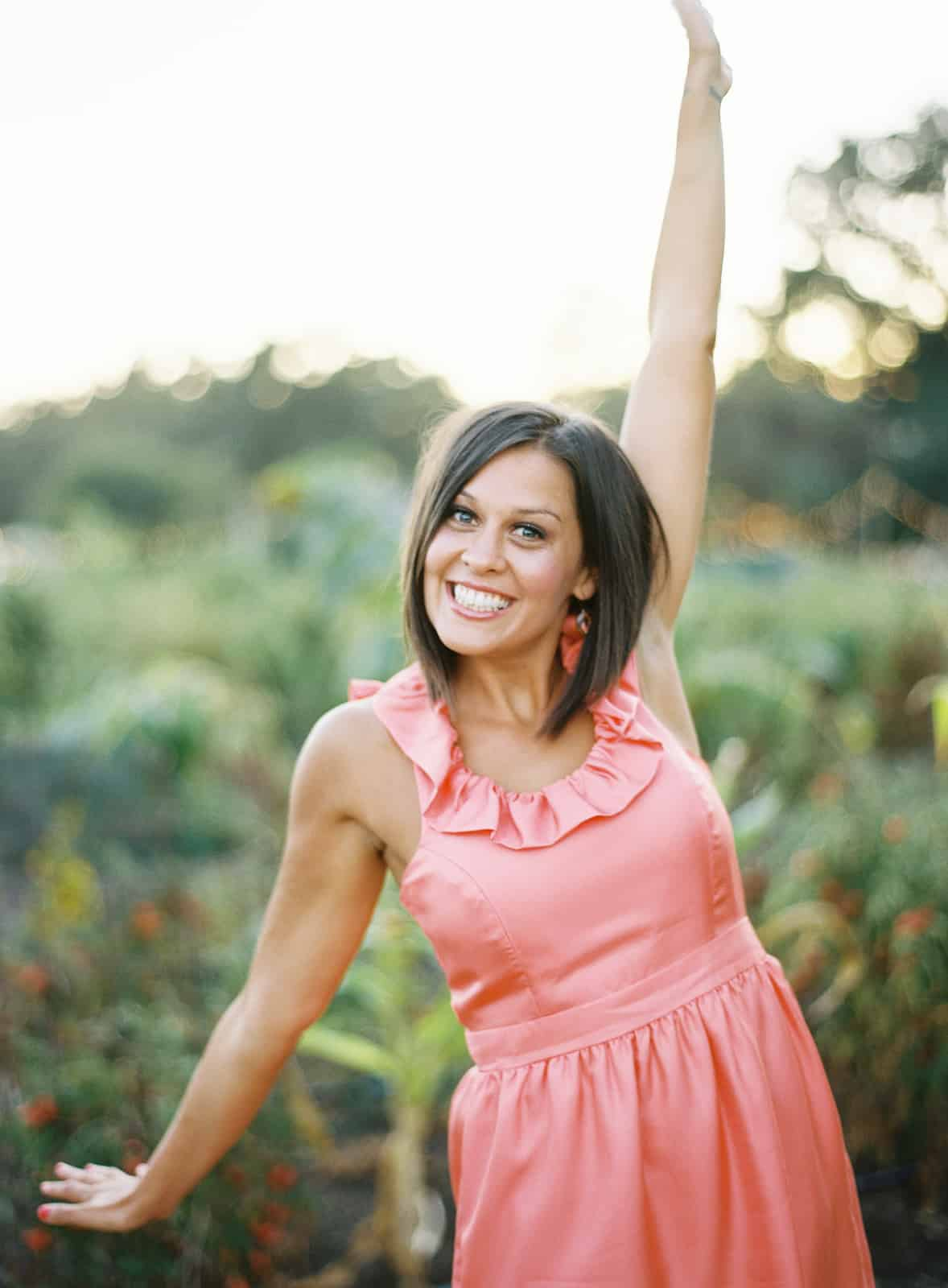 Bridesmaid waving arms