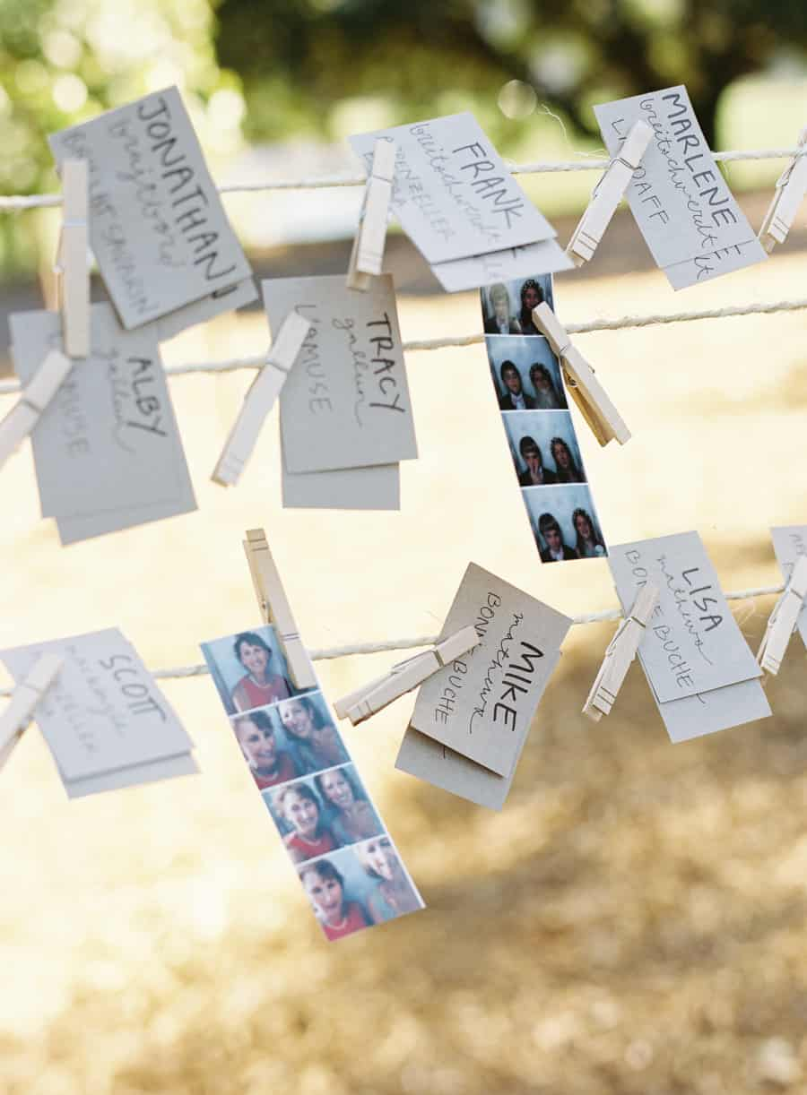 seating cards and photo booth strips