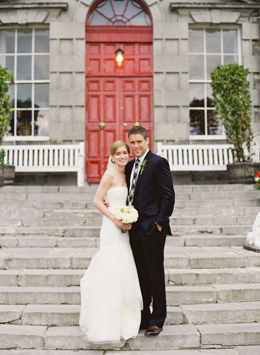 Bride and groom portrait on the Bellinter House steps