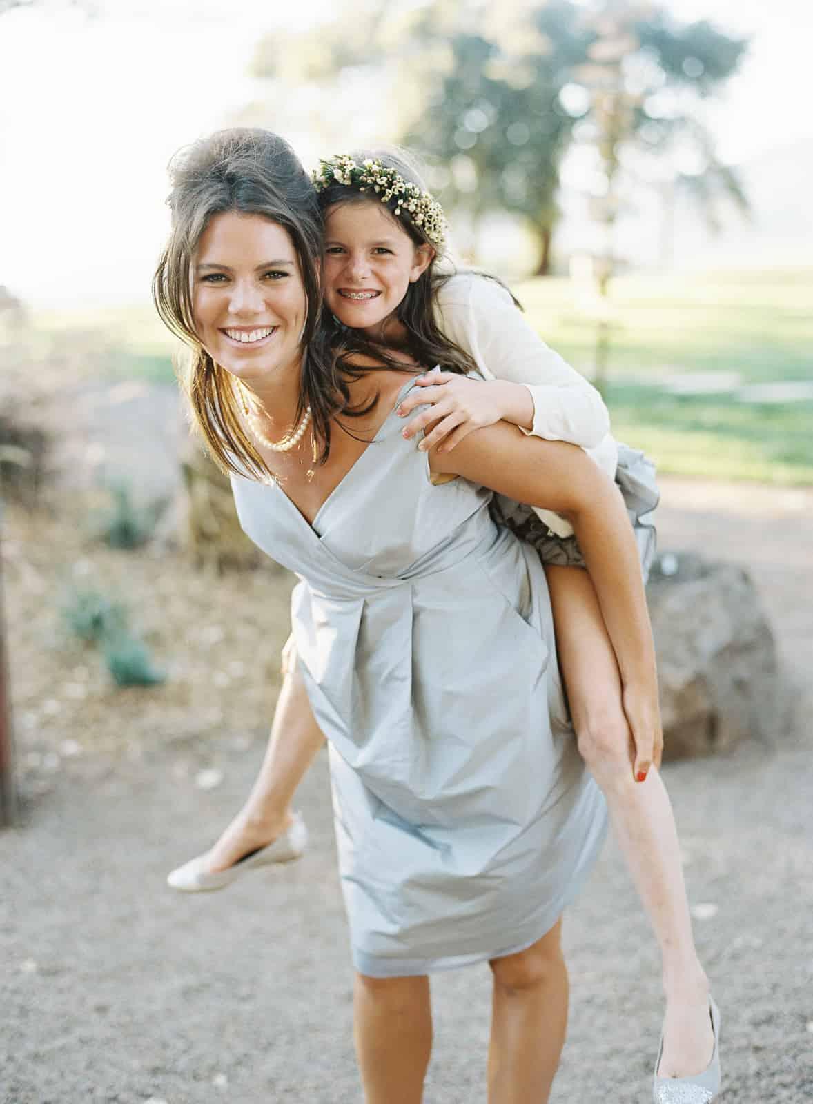 bridesmaid piggyback ride