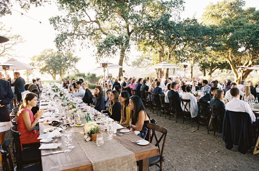 outdoor long rustic dinner tables