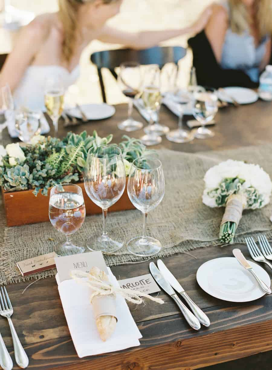 table setting with succulents