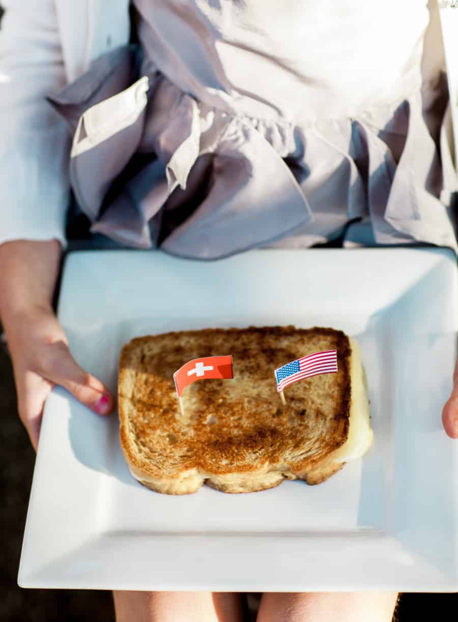 grilled cheese with toothpick flags