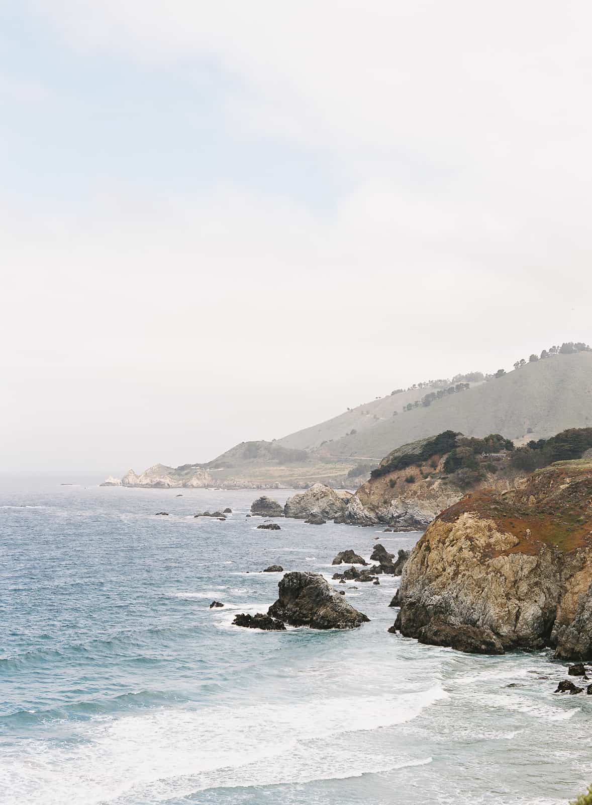 view of the pacific ocean and hills in big sur