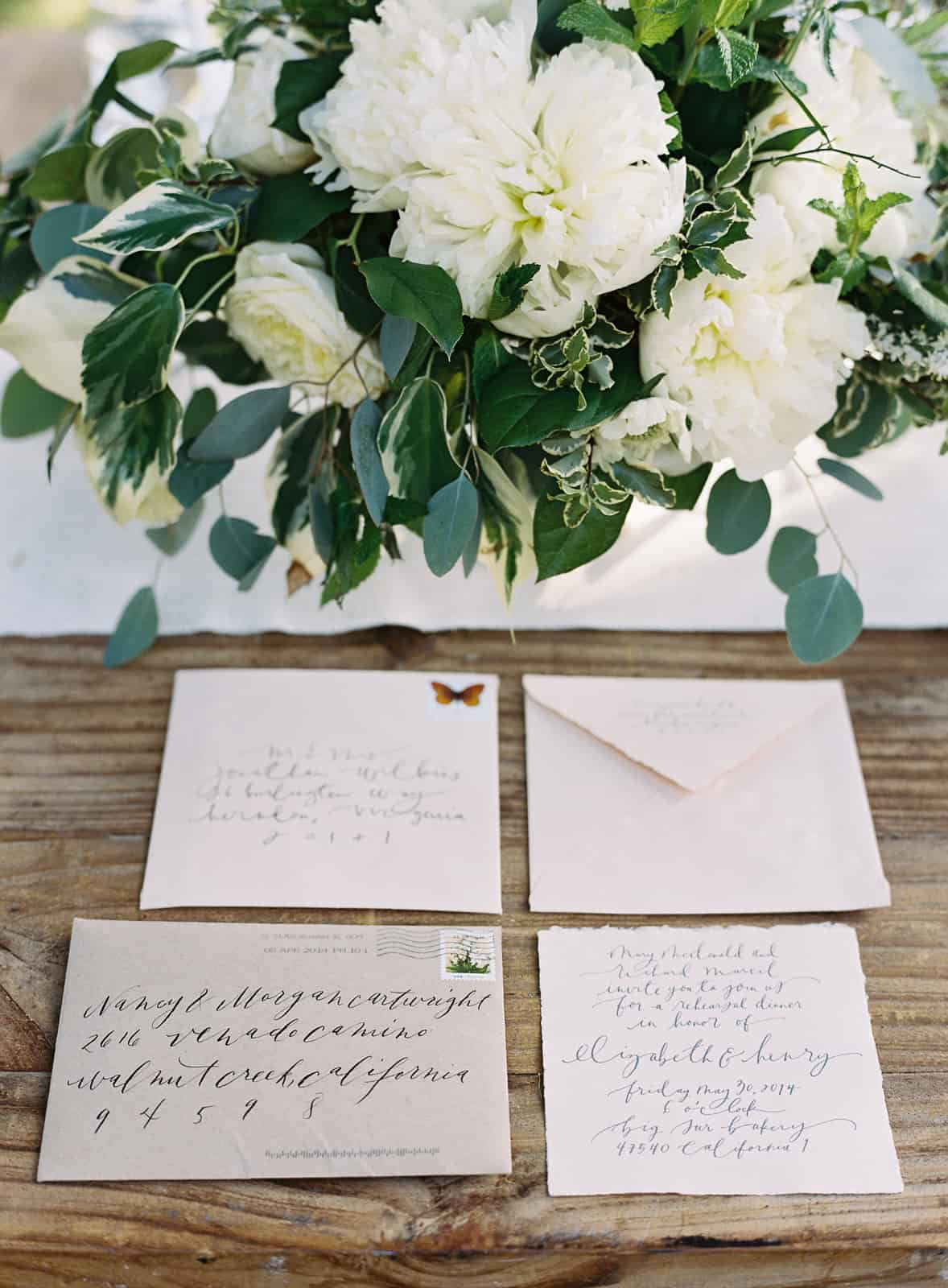 invitations and paper goods with calligraphy