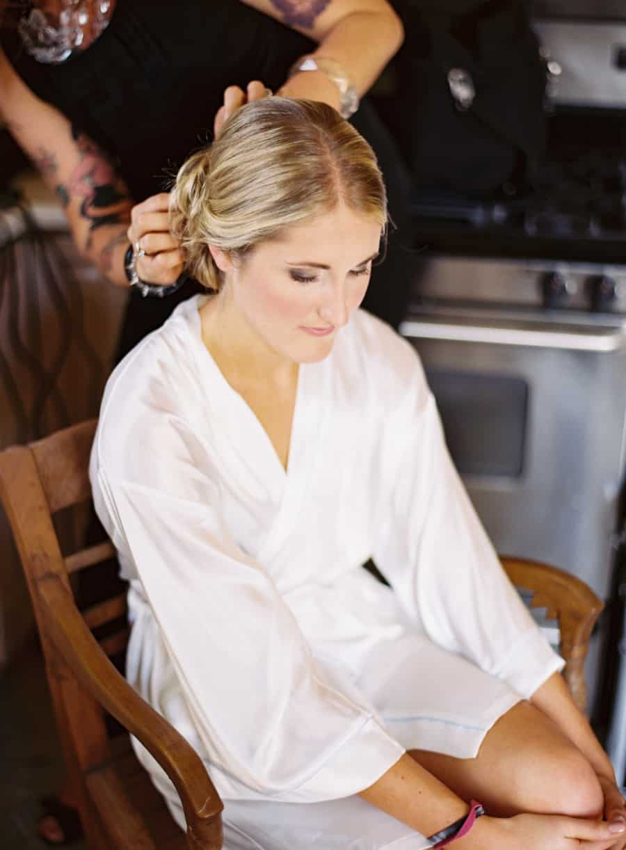 bride getting ready hair
