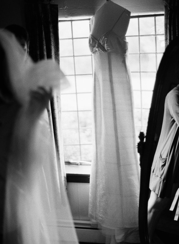 wedding dress in a window