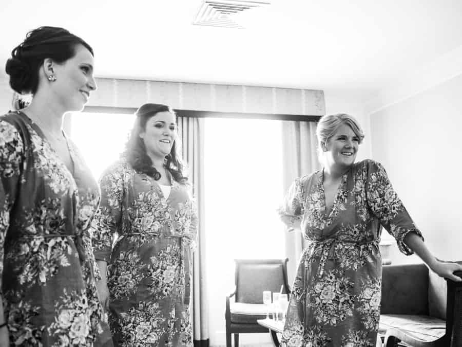 bridesmaids in matching floral