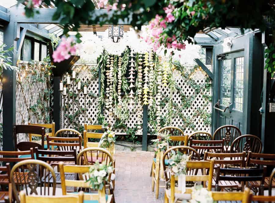 flower garland chains at wedding