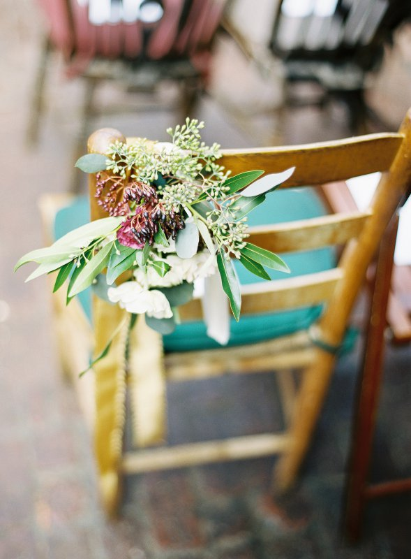 ceremony chair with laurel leaves