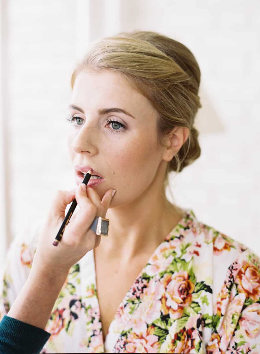bride getting lips done