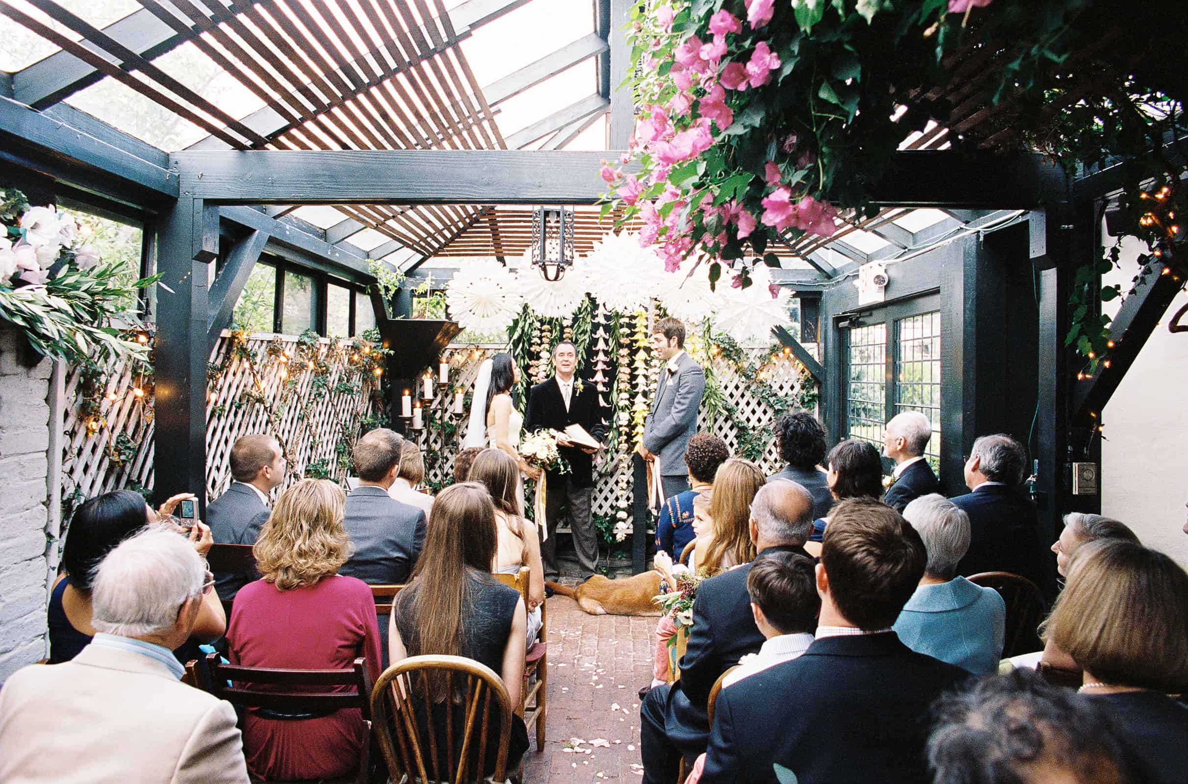 greenhouse sunroom wedding ceremony